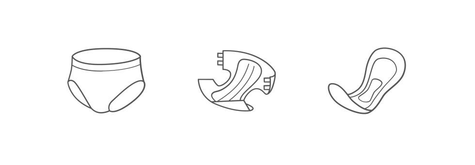 Inkontinenzmaterial: Aufsaugende Hilfsmittel (Windelhosen, Windeln, Inkontinenzeinlagen)