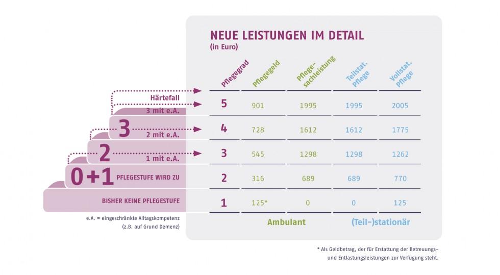 pflege.de-Grafik: Leistungen pro Pflegegrad im Überblick