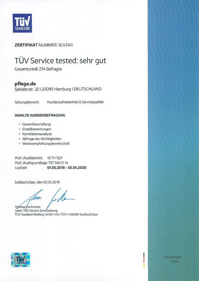 pflege.de - Zertifikat TUEV & Pflegeberatung